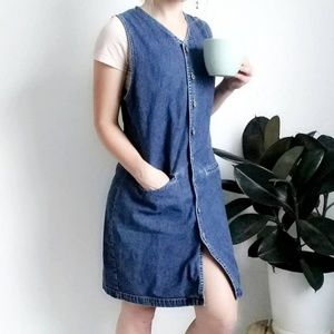 90s Vintage Denim Button Down Mini Jumper Dress